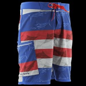 Huk KC Scott Blue Marlin USA Fishing Boardshort